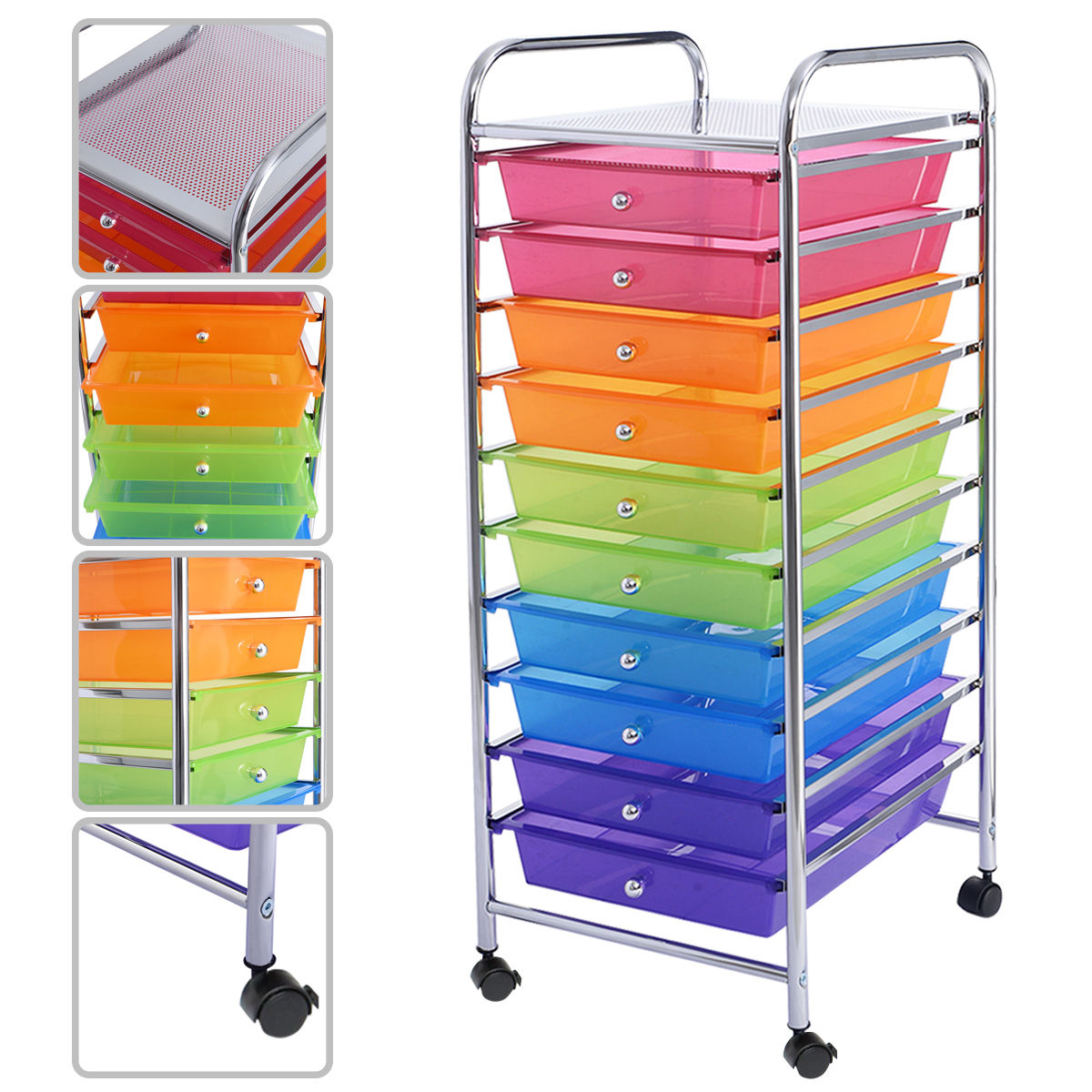 "GHP Home/Office White 14.6""Dx12.8""Wx33.8""H Multicolor 10 Drawer Rolling Storage Cart"
