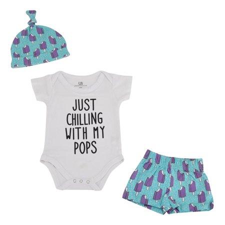 Boys Popsicle Print Onesie Shorts Cap 3 Piece Layette Set (6m) Blue
