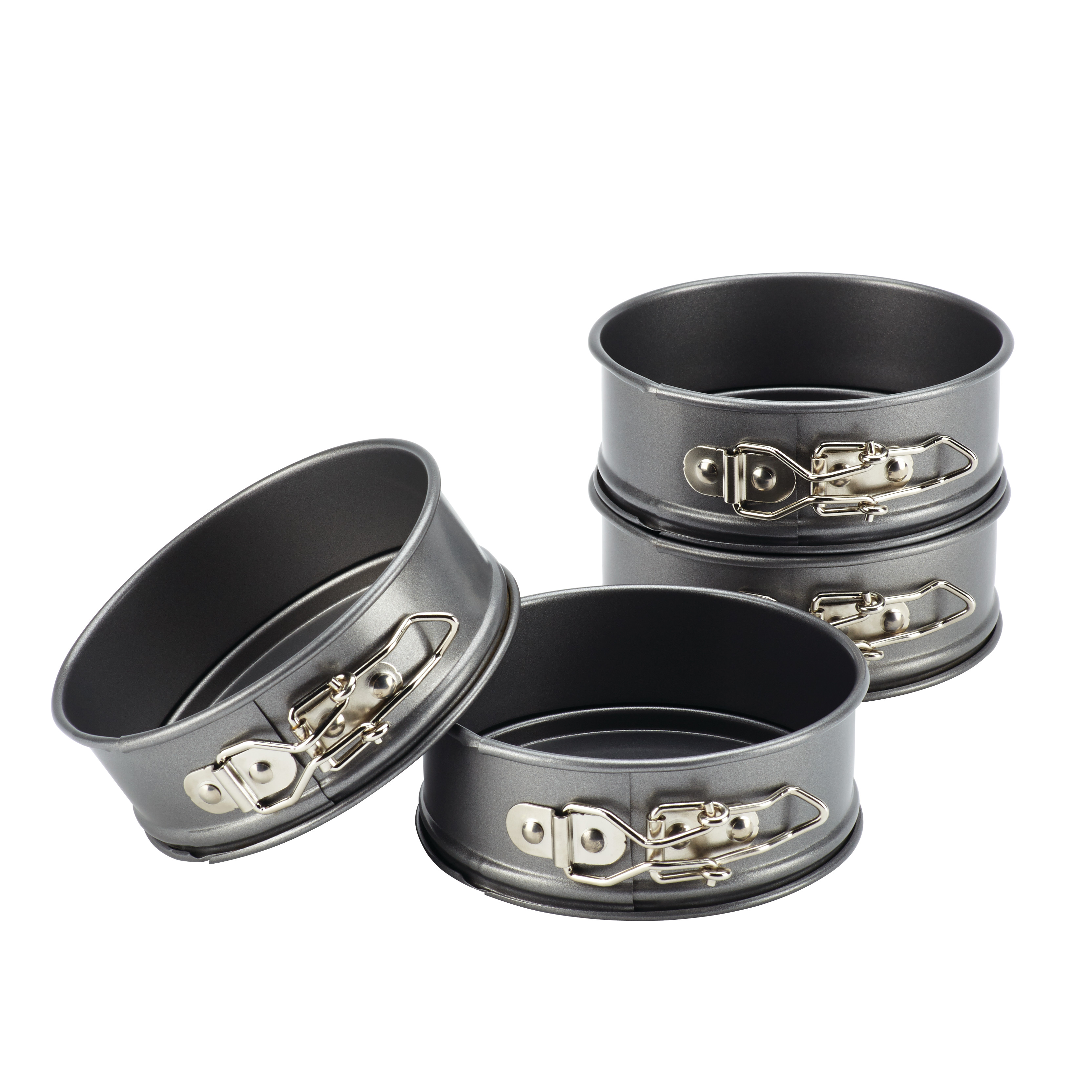 Cake Boss Novelty Bakeware 4-Piece Nonstick Mini Springform Pan Set, Gray