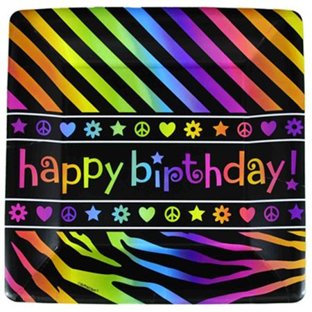 Neon Doodle Party Supplies (Neon Doodle Happy Birthday Small Paper Plates)