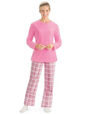 Collections Etc Women's Fleece Pajama Set with Plaid Pants BLUE MEDIUM