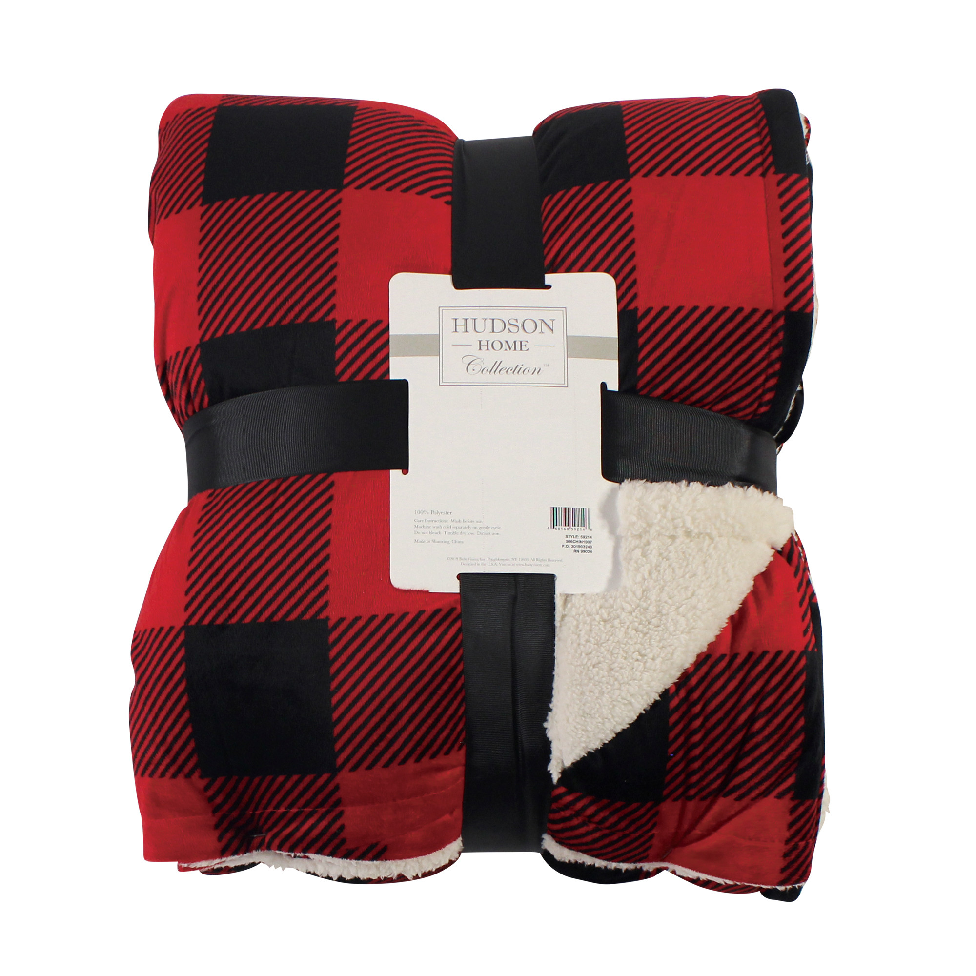 Hudson Baby Home Mink Blanket with Sherpa Back Gray Plaid Sherpa 60X80 in. Oversize Throw