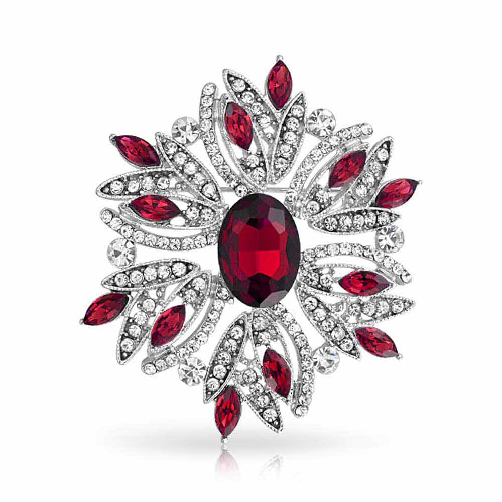 Holiday Wreath Pin Simulated Emerald Garnet Rhodium Plated by Bling Jewelry