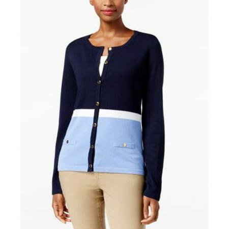 Karen Scott Petite Colorblocked Cardigan Intrepid Blue PL