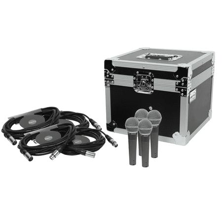 Pro Co Ameriquad Microphone Cable - Shure SM58 4 Pack Bundle + XSPRO ATA Microphone Case + 4 25' XLR Cables