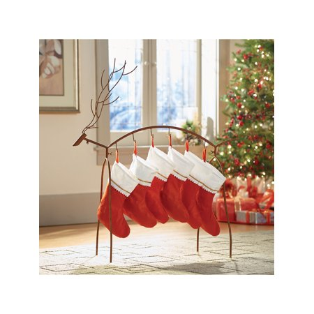 Art & Artifact Metal Reindeer Stocking Holder - Standing Holiday Decoration with Hooks - Rusted Finish ()