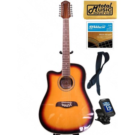 Oscar Schmidt LEFT HAND 12-String A/E Guitar, Active EQ, Sunburst, Bundle OD312CETSLH PACK2 - Left Handed 12 String