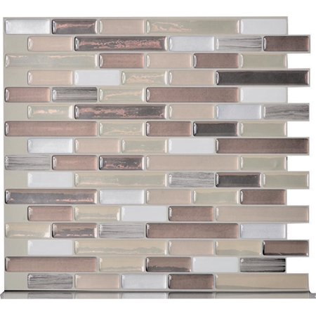 Smart Tiles Durango SM1053-6 Mosaic Wall Tile, 10-1/4 in L, 9.13 in W, 3/4 in Thick, Composite Vinyl, Beige/Tan 4 Pack