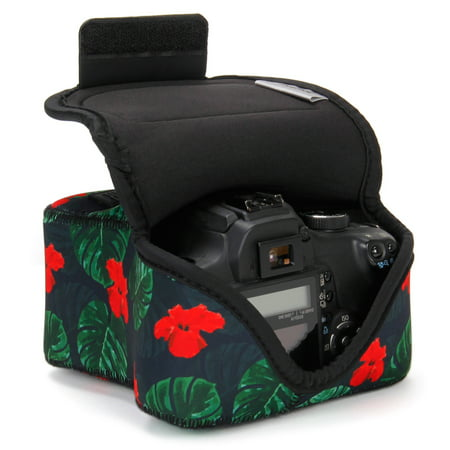 USA GEAR DSLR Camera Case / SLR Camera Sleeve (Tropical) with Neoprene Protection , Holster Belt Loop and Accessory Storage - Compatible With Nikon D3400 / Canon EOS Rebel SL2 / Pentax K-70 & More