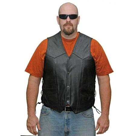 Mens Top Grain Lace Side Leather Vest VL902 ()