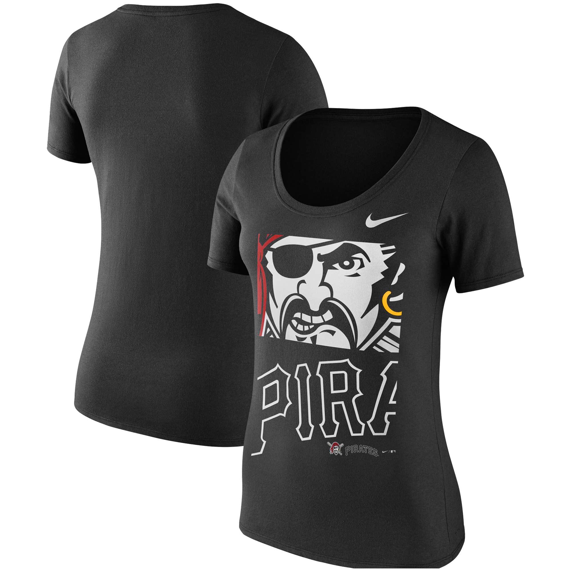 Pittsburgh Pirates Nike Women's Stack Logo Scoop Neck T-Shirt - Black