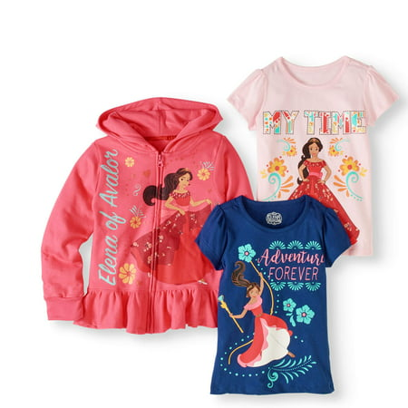 Little Girls' Hoodie and 2-Pack T-Shirt Outfit Set (Tv Character Outfits)