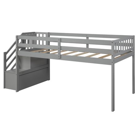 EUROCO Wood Twin Loft Bed with Stairs, Guard Rail and Storage Shelf for Kids, Gray
