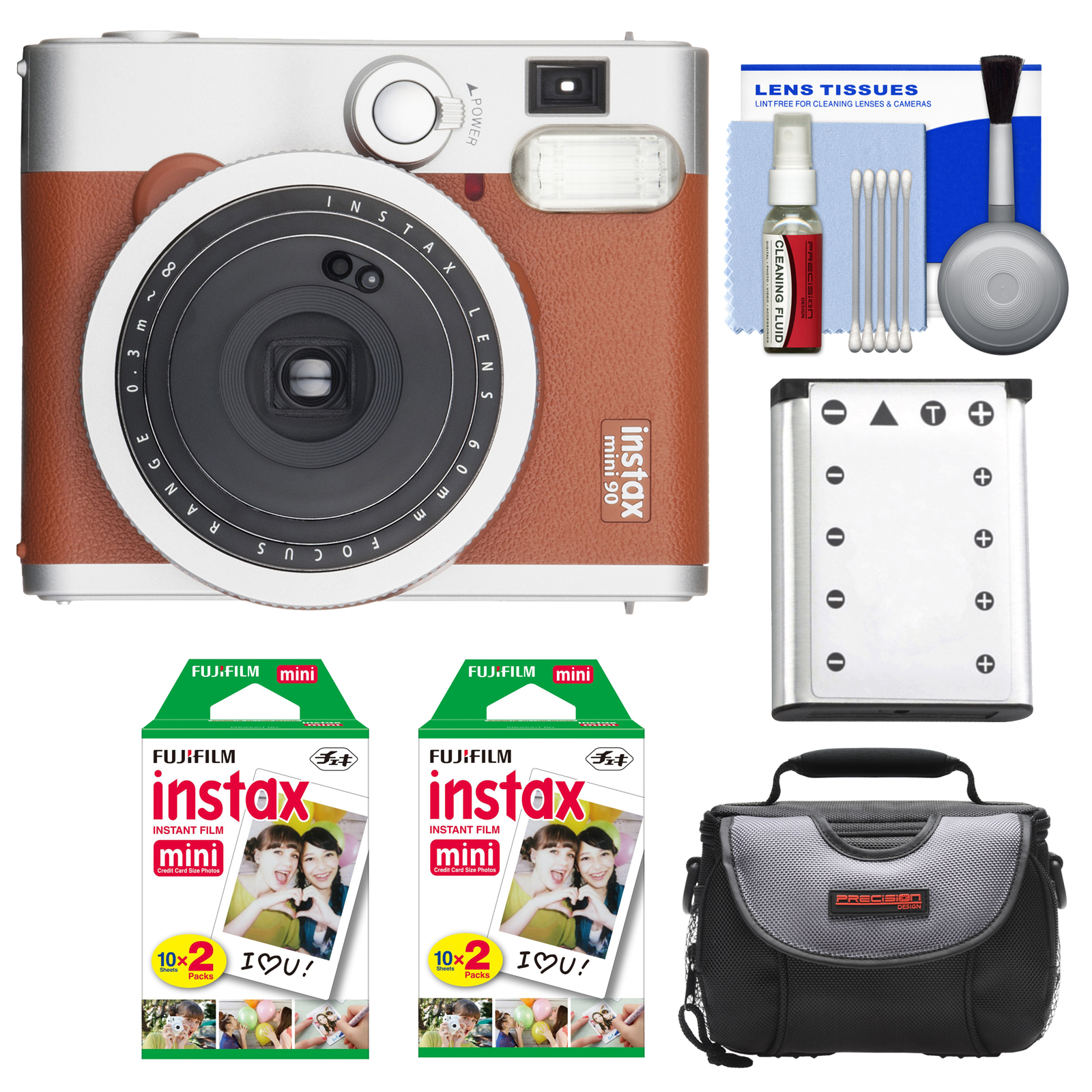 FujiFilm Instax Mini 90 Neo Classic Instant Film Camera (Brown) with 40 Instant Film + Case + Battery +... by Fujifilm
