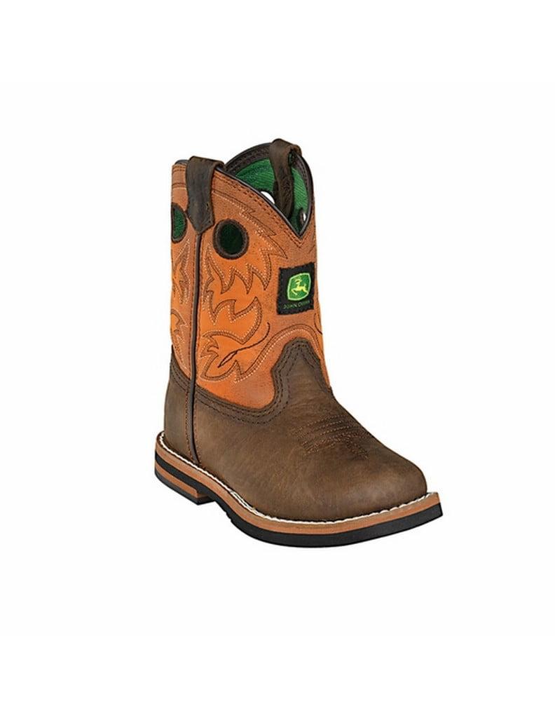 John Deere Western Boots Boys Kids Round Toe Dark Brown Rust JD1319 by John Deere