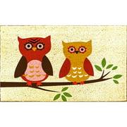 J&M Harvest Owls Vinyl Back Coir Indoor/Outdoor Doormat 18X30