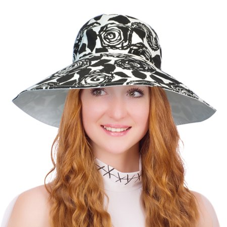 Womens Sun Hat Packable Wide Brim UV Protection Beach Hat Rose Pattern Brim Hat Pattern