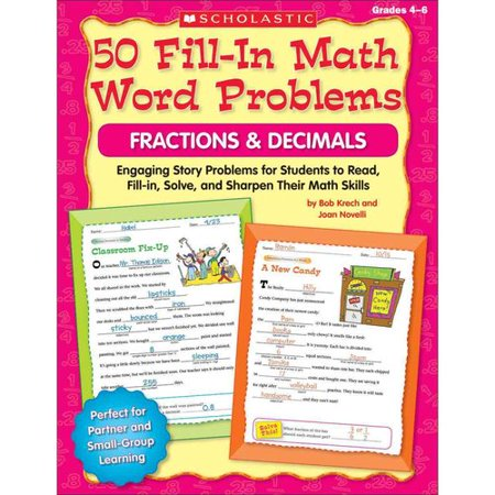 50 Fill In Math Word Problems Fractions   Decimals  Grage 4 6  Engaging Story Problems For Students To Read  Fill In  Solve  And Sharpen Their Math Skills
