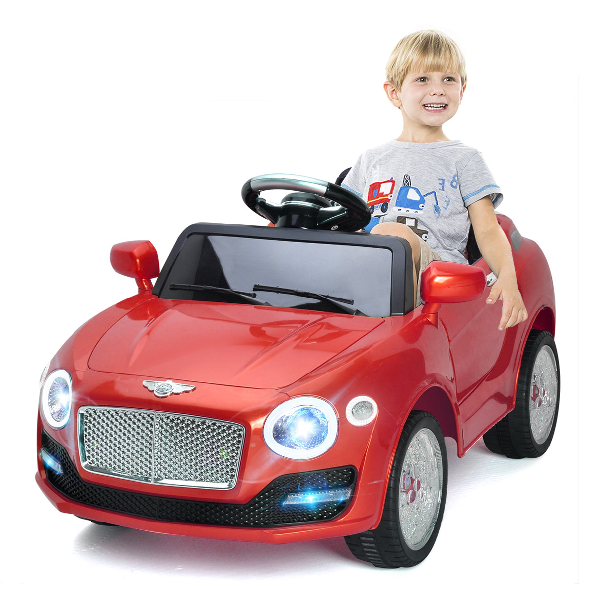 Costway 6V Kids Ride On Car Electric Battery Power RC Remote Control & Doors w  MP3 Red by Costway
