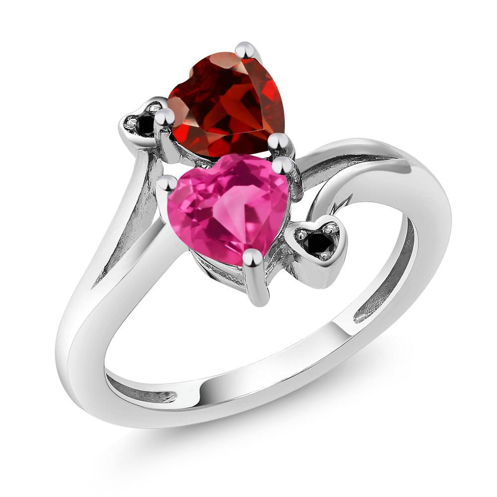 1.88 Ct Heart Shape Pink Mystic Topaz Red Garnet 14K White Gold Ring by