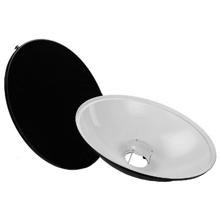 Fotodiox Pro Beauty Dish 28in (70cm) Kit with Soft Diffuser Sock and Honeycomb Grid (50 degree) for Elinchrom Monolights