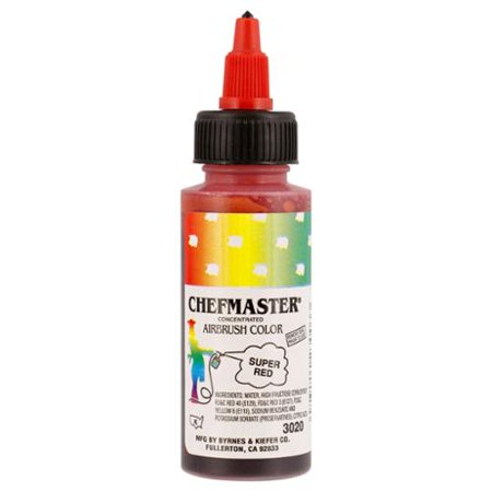 Red 2 Ounce Bottle - Chefmaster 2-Ounce Super Red Airbrush Cake Decorating Food Color