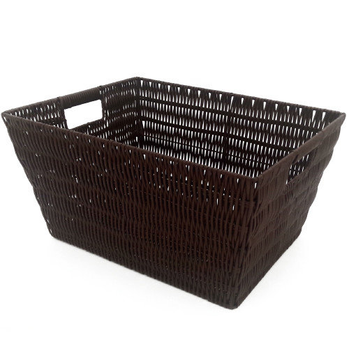 MImo Style Homegoods Javanese Style Plastic Wicker Basket with Stainless Steel Handle