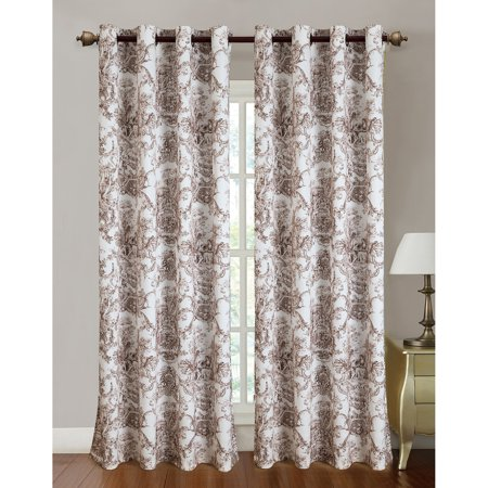 Toile Printed 110 x 84 in. Grommet Curtain Panel Pair, Coffee (Set of (Toile Scalloped)