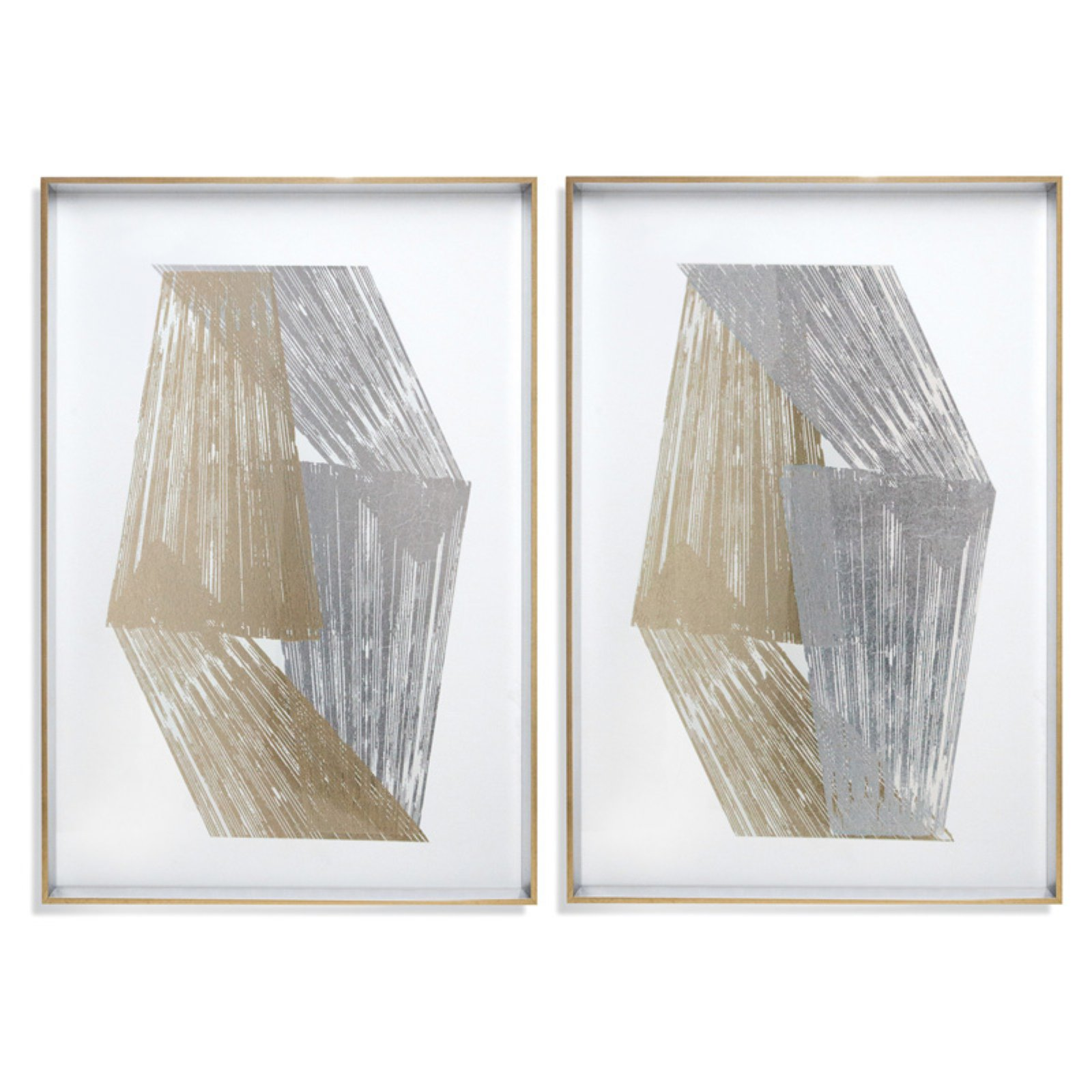 Bassett Mirror Company Gold & Silver Stripes Wall Art - Set of 2
