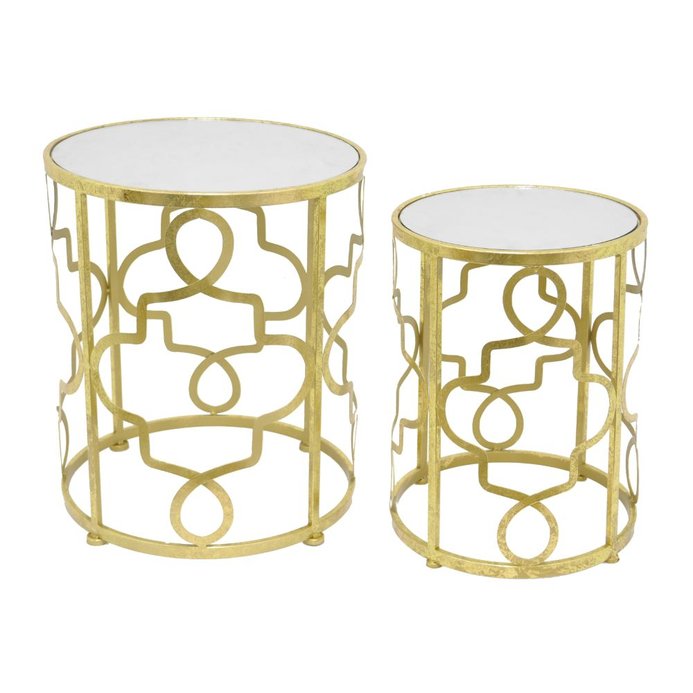 Fascinating Metal Table Set Of 2 With Mirror