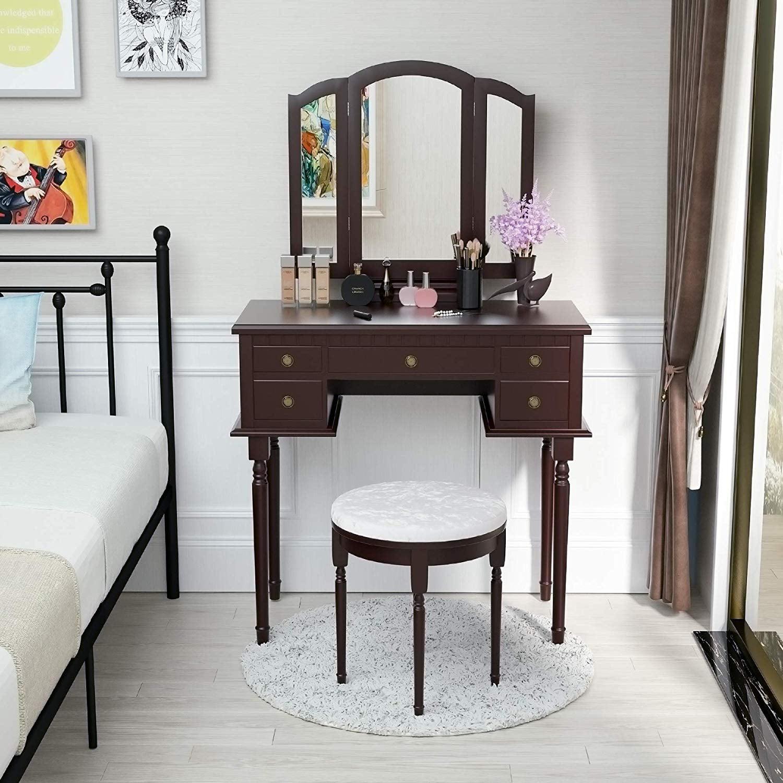 Mecor Vanity Table Set W Tri Folding Mirror Wood Makeup Table And Round Stool 5 Drawers Storage Girls Women Bedroom Furniture Dressing Table Brown Walmart Com Walmart Com