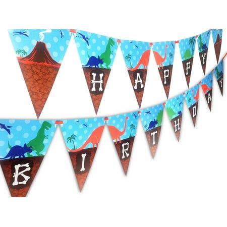 Dinosaur Happy Birthday Banner Pennant - Dinosaur Birthday
