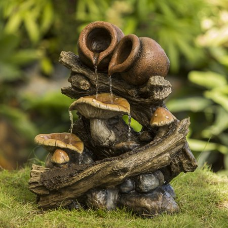 Jeco Pots On Wood Stump Indoor/Outdoor Fountain