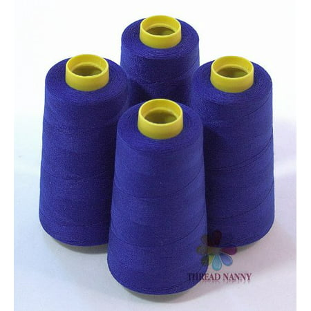 - 4 Large Cones (3000 Yards Each) of Polyester Threads for Sewing Quilting Serger Royal Blue Color From Threadnanny