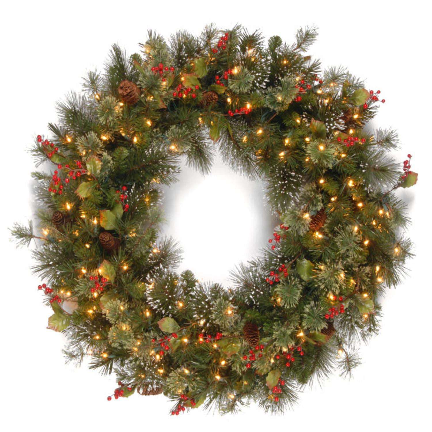 "36"" Pre-Lit Wintry Pine Artificial Christmas Wreath with Cones, Berries and Snow - Clear Lights"