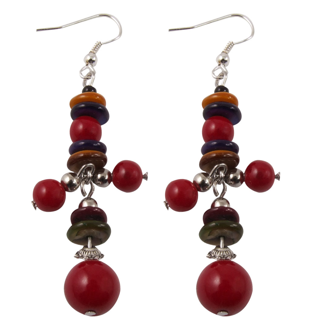 Colored Flat Round Beads Dangling Hook Eardrop for Ladies
