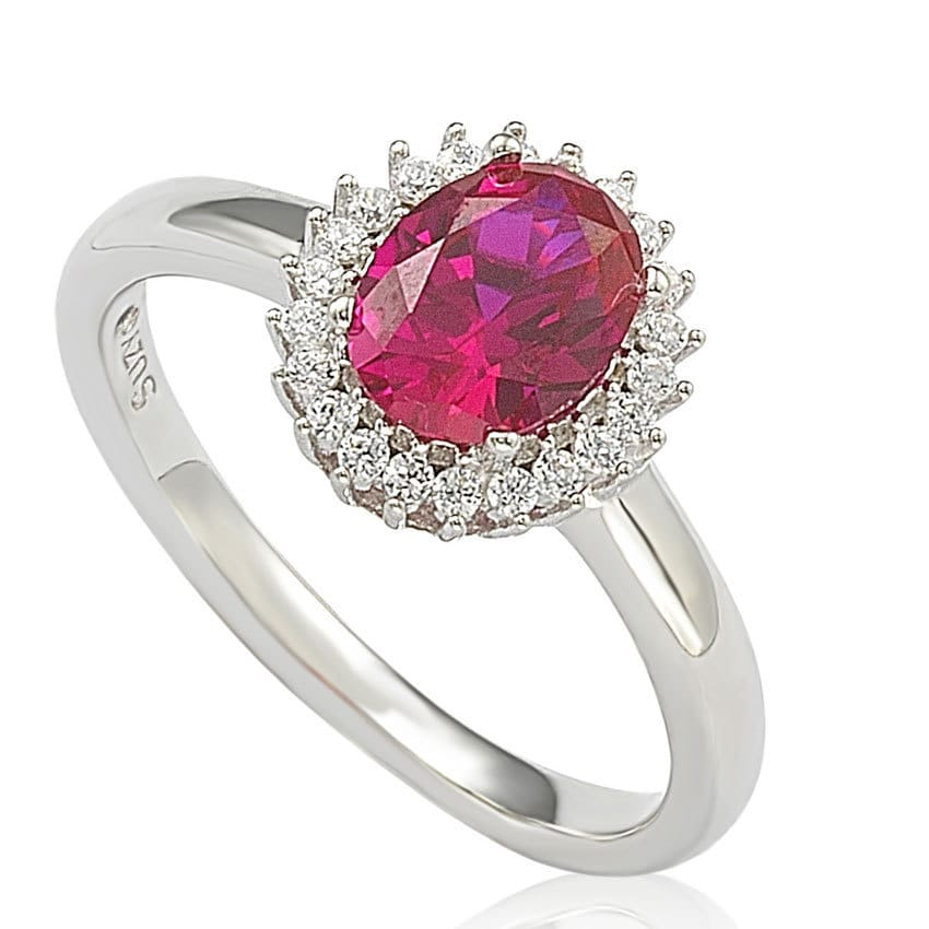 Suzy Levian Sterling Silver Created Ruby Cubic Zirconia Halo Ring (Size 9), Women's