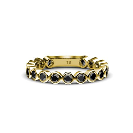 Black Diamond 2.3mm Bezel Set Eternity Band 0.80 Carat tw in 14K Yellow Gold.size 4.5