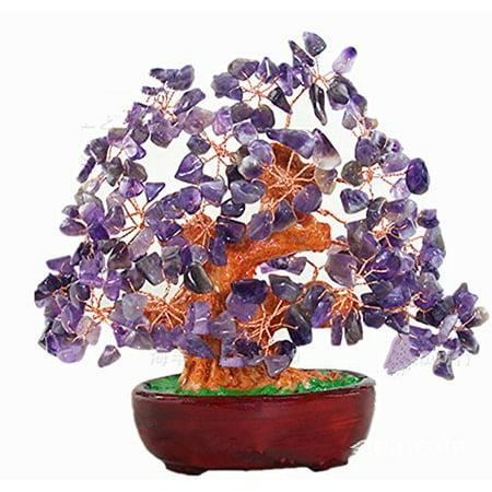7 Inch Purple Crystal Money Tree Feng Shui Natural Amethyst Quartz Gem Stone Money Tree