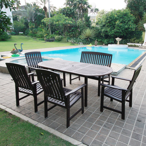 delahey 6 piece outdoor wood dining set collections