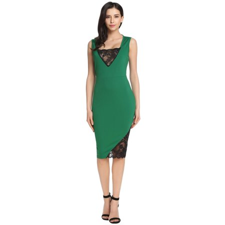 Women's Sleeveless Lace Patchwork Cocktail Bodycon Pencil Dress