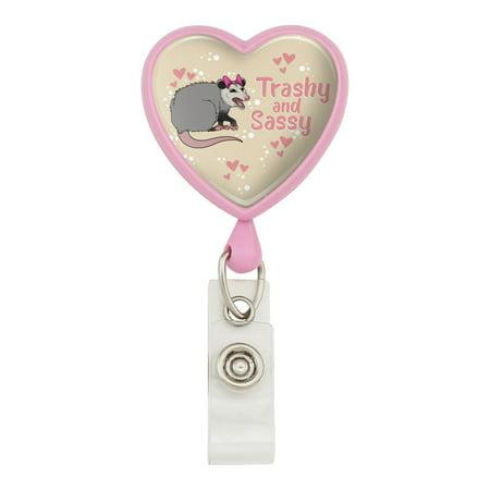 Trashy and Sassy Opossum Funny Heart Lanyard Retractable Reel Badge ID Card Holder - Pink