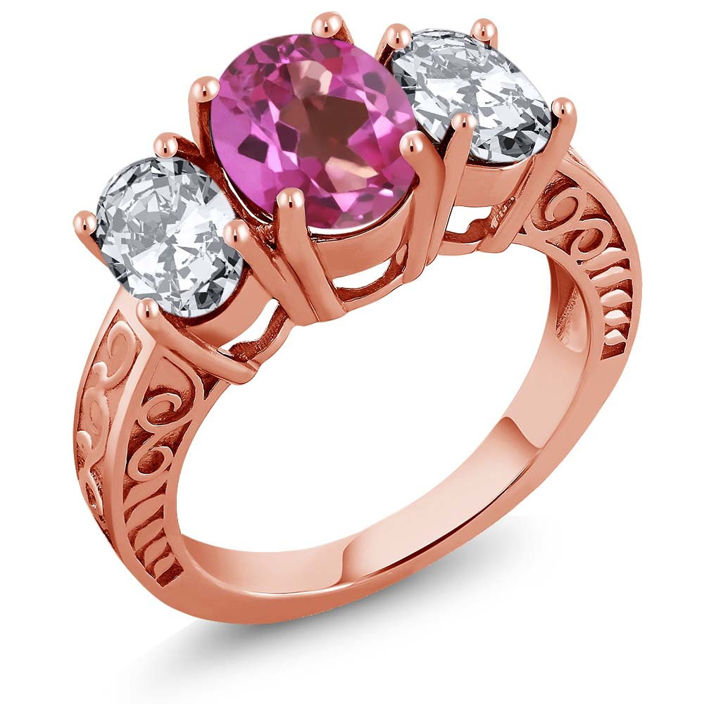 4.80 Ct Oval Pink Mystic Topaz 18K Rose Gold Plated Silver Ring by