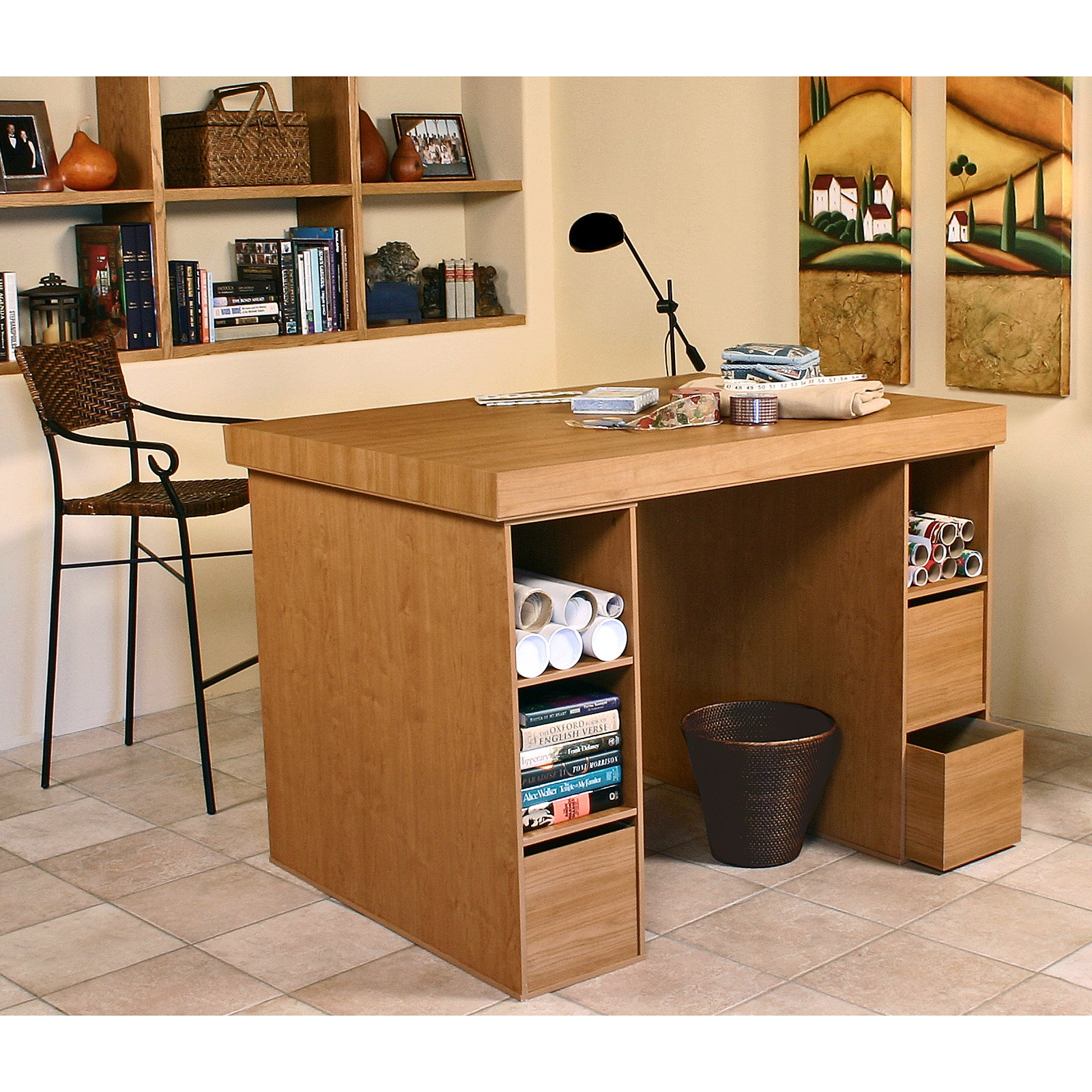 Venture Horizon Project Center Desk with 2 Three Bin Cabinets