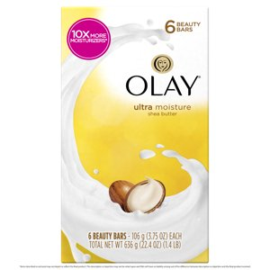 Olay Moisture Outlast Ultra Moisture Shea Butter Beauty Bar, 6 count, 3.75 oz each