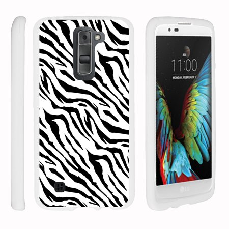 LG K7, LG Treasure, LG Tribute 5, [SNAP SHELL][White] 2 Piece Snap On Rubberized Hard White Plastic Cell Phone Case with Exclusive Art - Zebra Pattern