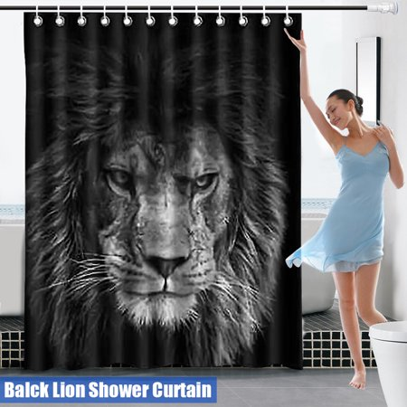 59''x71'' Bathroom Shower Curtain Waterproof Polyester Fabric Lion Pattern Curtain with 12 Hooks Set Home Decor Christmas Gift ()