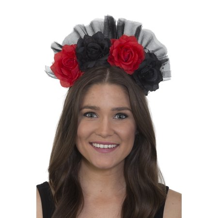 Day Of The Dead Headband Floral Red Black Flowers Gothic Bride Accessory Costume - Dread Headband