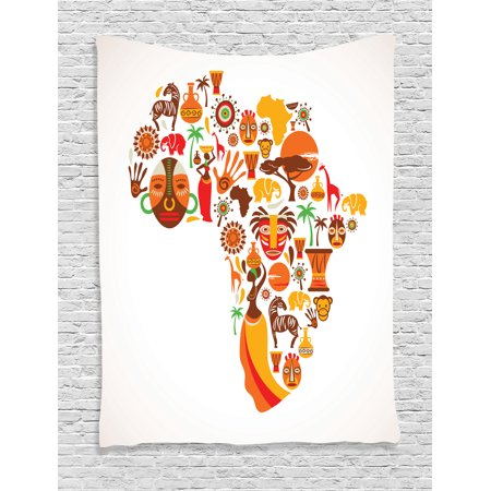African Tapestry Wall Hanging African Map with Different Famous Icons Ethnic Masks and Savannah Style Artwork, Bedroom Living Room Dorm Decor, Orange Brown, by Ambesonne