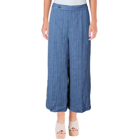 Lauren Ralph Lauren Womens Vasharta Linen Pinstripe Wide Leg Pants